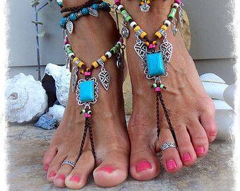 Hete roze DRAGON BAREFOOT sandalen die triskele van GPyoga op Etsy