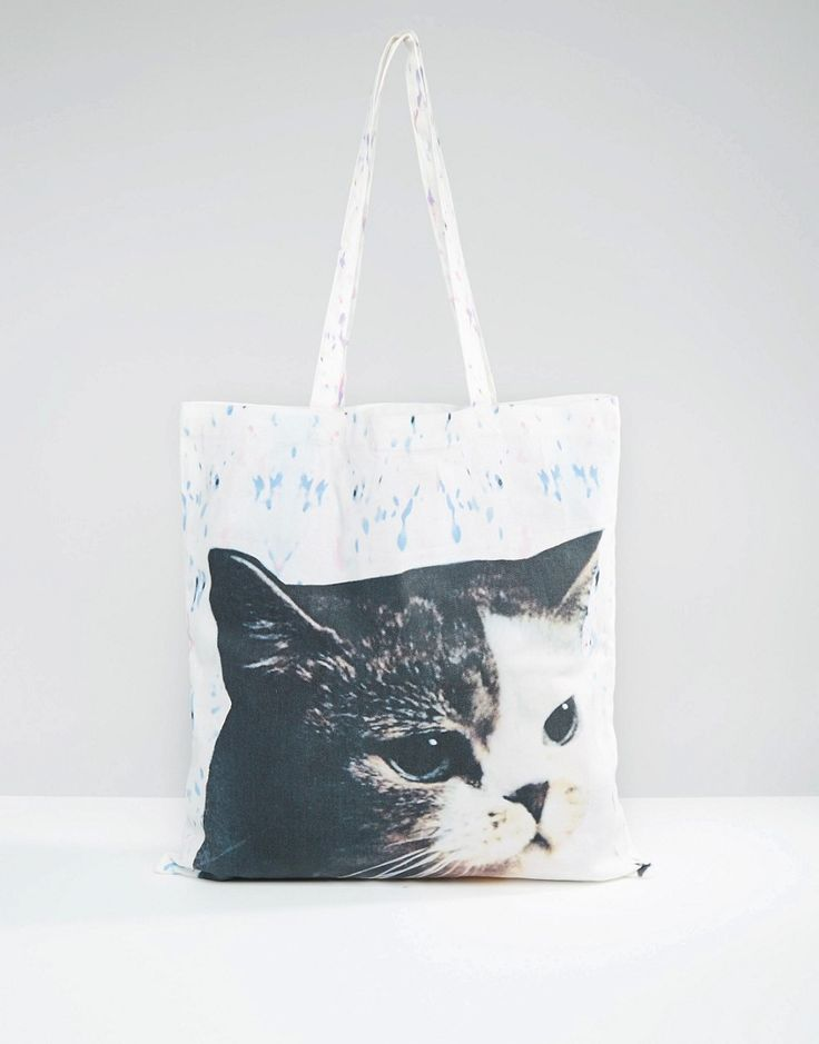 Image 1 of Monki Cat Canvas Shopper Bag