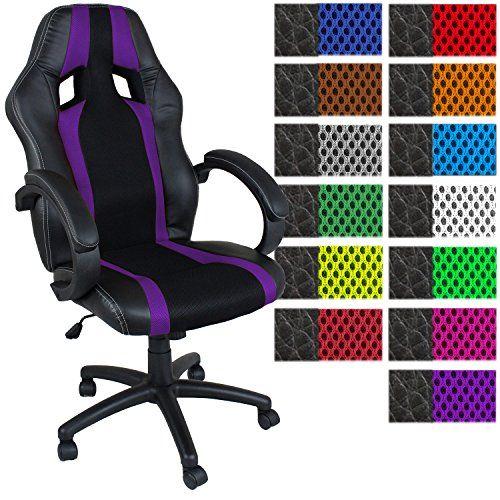 TRESKO® Chaise Fauteuil siège de bureau racing sport rayé ergonomique inclinable accoudoirs rembourrés, de 13 couleurs différentes, Lift…
