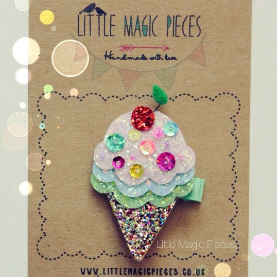 Hey, I found this really awesome Etsy listing at https://www.etsy.com/listing/175164160/ice-cream-cone-hair-clip-glitter-felt