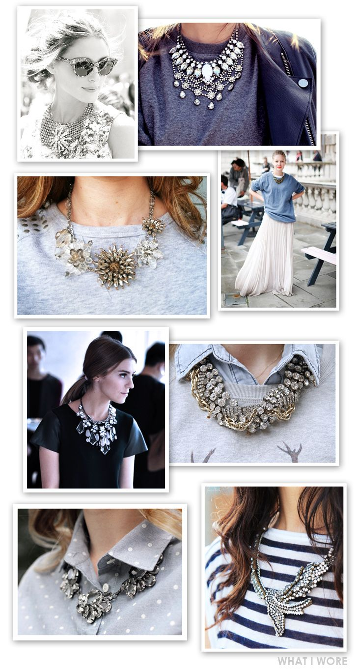 I really like the simple tops and simple necklines contrasted with the BAM! crystal necklace.