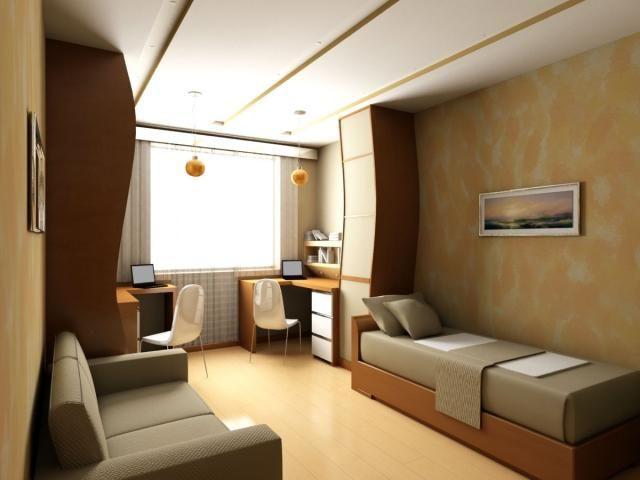 Дизайн комнаты для подростков с двумя рабочими местами