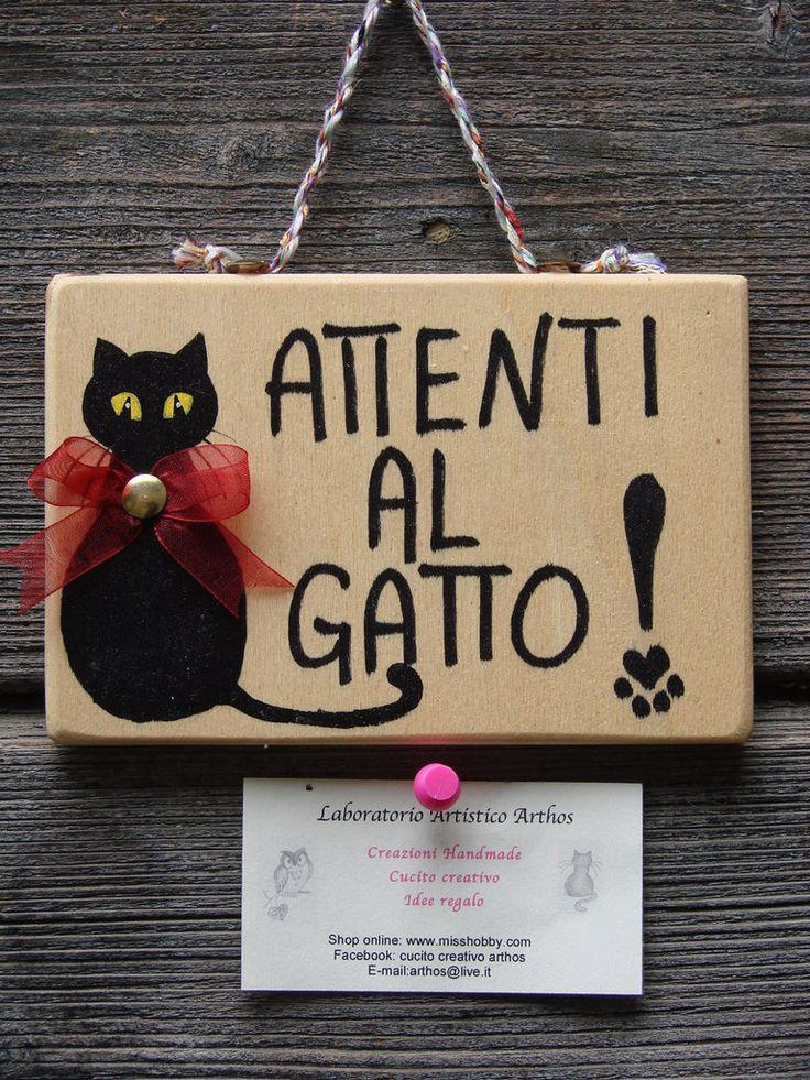 ATTENTI AL GATTO NERO CARTELLO TARGA IN LEGNO IDEA REGALO NATALE FATTO A MANO, by Laboratorio Artistico Arthos, 8,00 € su misshobby.com