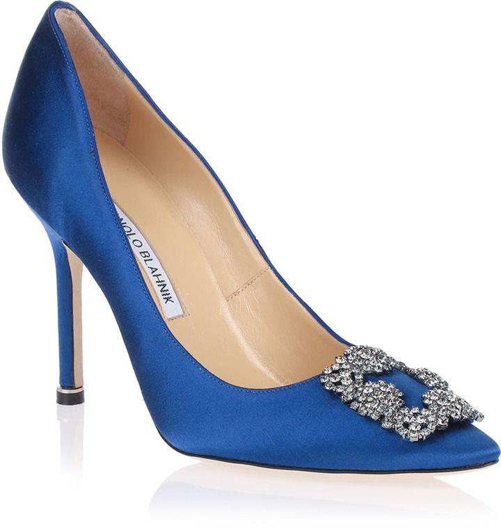 Manolo Blahnik Hangisi satin pump Something Blue on shopstyle.com