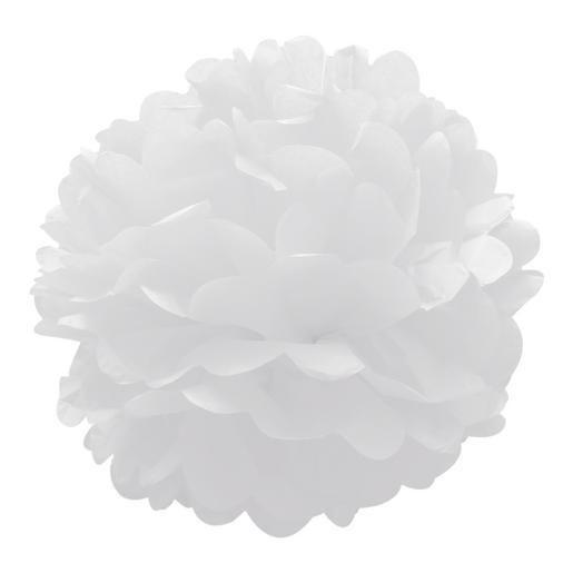 3 fleurs décoratives - Papier - Ø 30 cm - Blanc