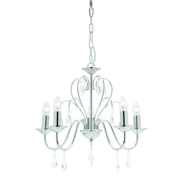 5 Light Pendant with Polished Chrome Metalware and Clear Glass Beads Body Height 470mm, Width 520mm Lamp Max 5 x 40w B22 Brand: Mercator Lighting