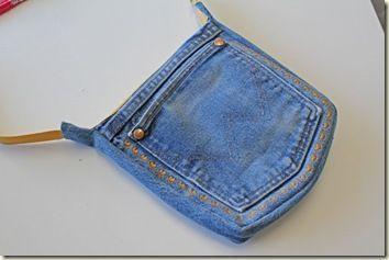 Süße kleine Jeanstasche aus recycelter Jeanstasc…