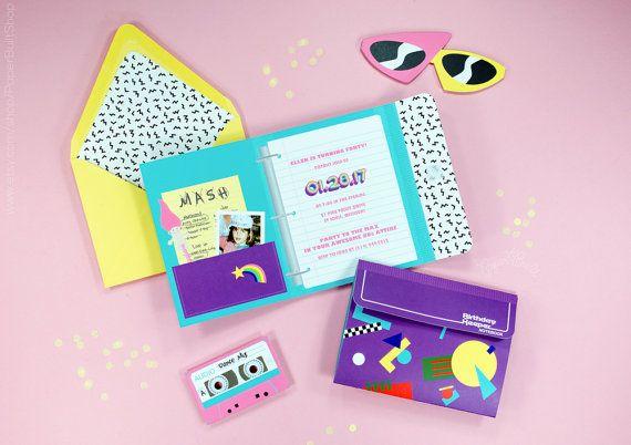 1980s Party Invitation, Totally Eighties Retro Adult Teen Birthday Party Invitations, School Supply Binder Invite, 80s Colors, Mitzvah, Neon