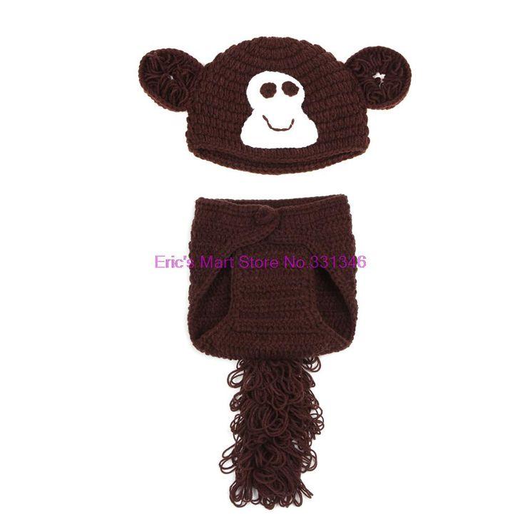 1 conjunto infantil bebê Handmade malha de lã Crochet macaco padrão fotografia Hat Cap foto Prop(China (Mainland))