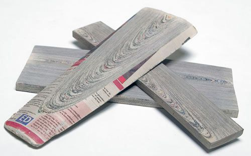 NewspaperWood by Vij5 and Mieke Meijer repurposes old newspapers into furniture building material.