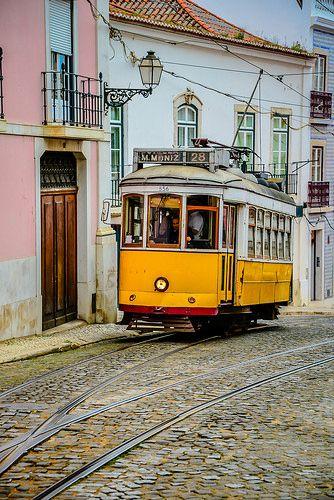 Street Tram #28 in Alfama - Lisbon Portugal
