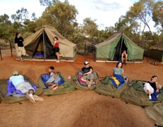 Camping and swags, heaps of fun out under the stars with talking all night. Its great to be Australian!