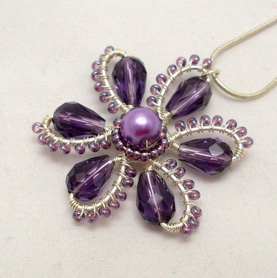 Purple Flower Pendant Necklace, Wire Wrapped Jewelry