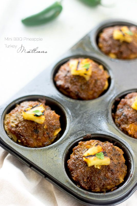 Mini BBQ Pineapple Turkey Meatloaves - Smokey, sweet and a little bit spicey, these are sure to be a hit at your dinner table! Gluten free and healthy too! | Foodfaithfitness.com | @FoodFaithFit
