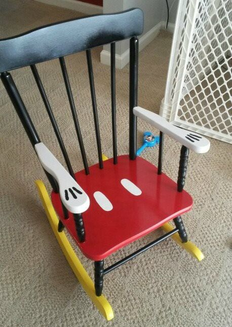 DIY Mickey Mouse Rocking Chair…what a fun way to upcycle an old rocking chair…