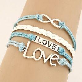 pulsera de multipiezas estilo europeo con letra love de color azul se vende bien