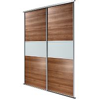 2 Walnut Fineline Sliding Wardrobe Doors and Track Kit | Wardrobes | ASDA direct