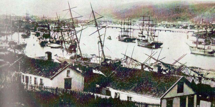 Drammenselva i 1893, seilskutebyen Drammen. Tatt fra Tangen kirke