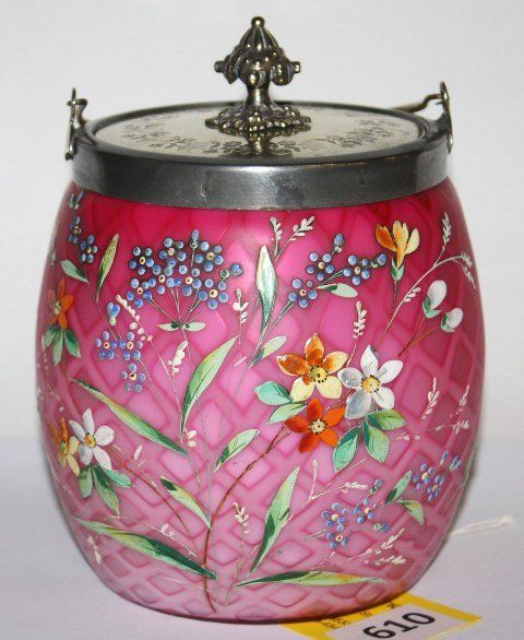 VICTORIAN PINK SATIN, DIAMOND QUILTED ART GLASS CRACKER JAR WITH FANCY ENAMEL FLORAL DECORATION