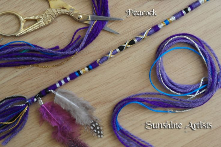 Hair Wrap, Hair Braid, Tie In, Dread, Hair Beads, Feathers, Hair Extension, Festival Wear, Boho, - Heather Feather pattern + instructions by SunshineArtists on Etsy