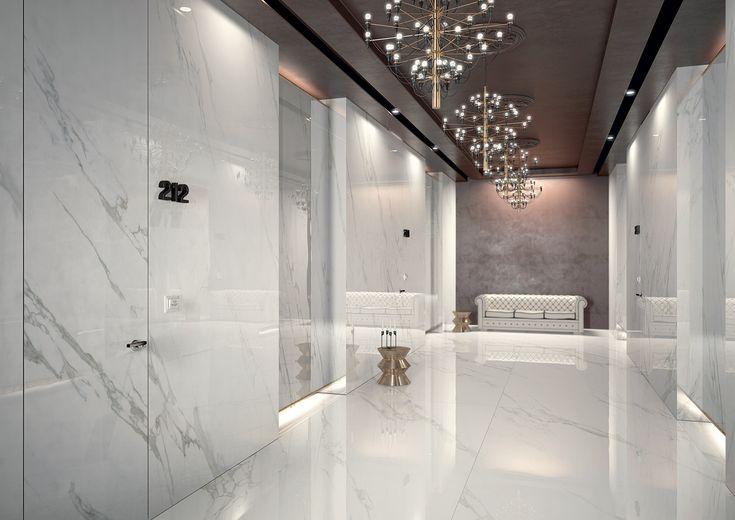 Bathroom With Porcelain Marble Tile
