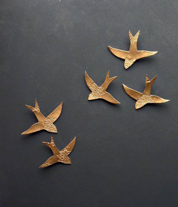 porcelain wall art swallows over morocco gold birds wall sculpture ceramic wall art for bathroom bedroom - Bird Wall Decor