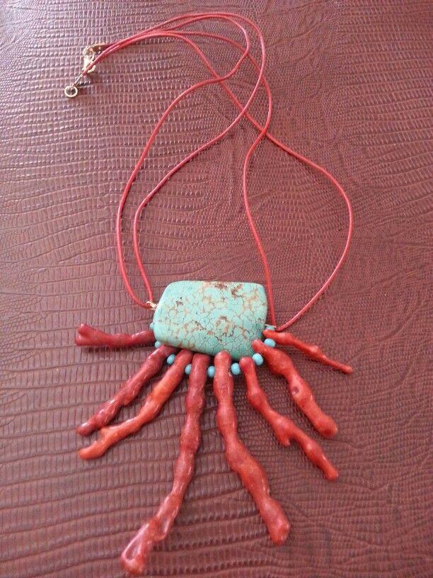 Mercan & turkuaz kolye
