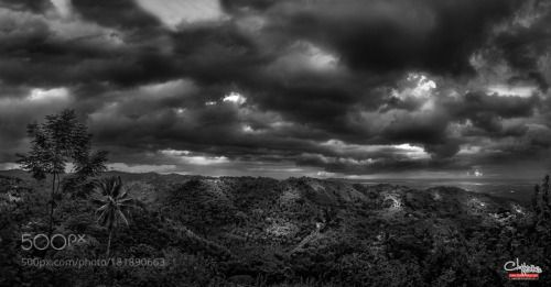 The Stormy Peak by ChamsHamis  trees clouds black and white storm dark clouds stormy clouds Mountain Zamboanga City Philippines Zam