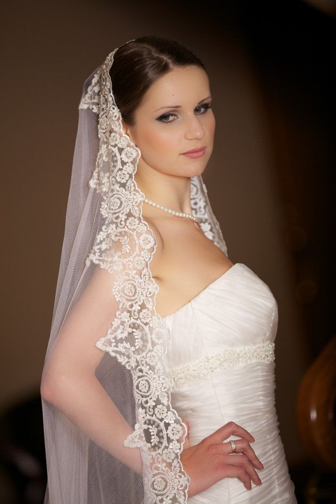 Divine silk wedding veil Chanell. Mantilla. Handmade. Chapel length. Silk white with beaded trim.. $920.00, via Etsy.