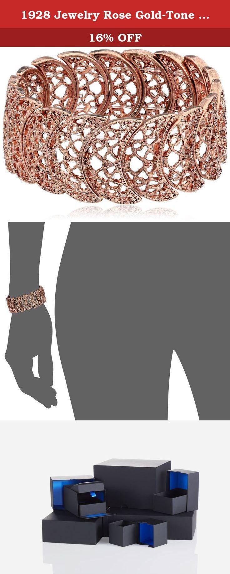 1928 Jewelry Rose GoldTone Filigree Stretch Bracelet Stretch