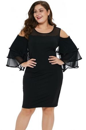 9a15bed3ec71 US$ 9.66-Black Cold Shoulder Cascading Sleeve Plus Size Dress Dropshipping