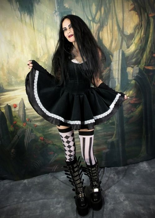 Floaty Alice Mini Dress - steampunk goth minidress by Moonmaiden Gothic Clothing UK