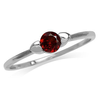 Petite Natural Garnet White Gold Plated 925 Sterling Silver Promise Ring SZ 9