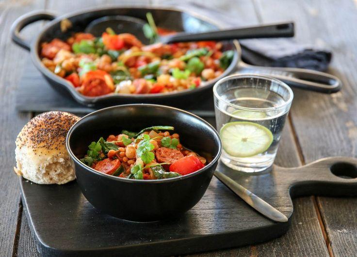 Chorizogryte med linser og grønnsaker