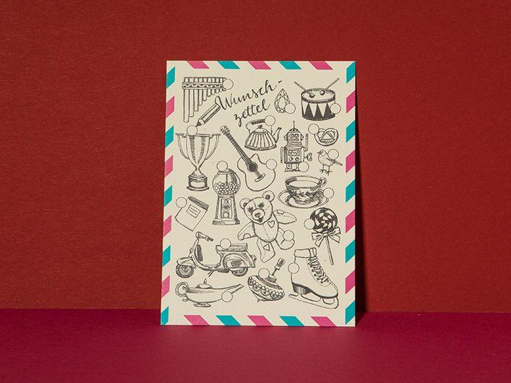 Wunschzettel zum Ankreuzen - Larifariladen von Postkarten von Larissa Mantel auf DaWanda.com