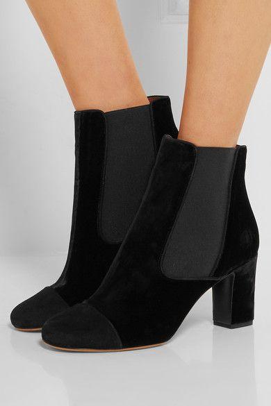 Tabitha Simmons - Micki Nubuck-paneled Velvet Ankle Boots - Black - IT36.5