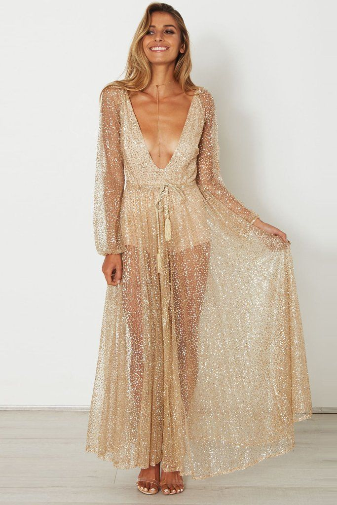 Deep V-neck Long Sleeves Pleat Long Transparent Dress