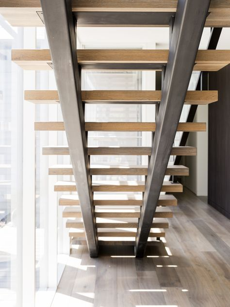 Stair   Modern   Design   Architecture   Steel Stringers   Stainless Steel   Framed   Glass   Balustrade   Handrail   Home   Stairway   Timber   American Oak   Feature