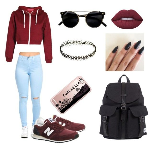 """"""""""" by martyna-janas on Polyvore featuring moda, New Balance, Herschel, Lime Crime i Casetify"""