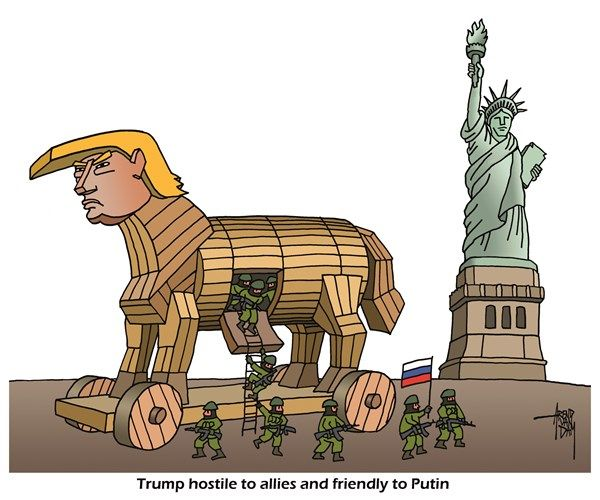 Arend Van Dam - politicalcartoons.com - Trump best friends with Putin - English - Trump, Putin, Trojan horse, Trump friends with Putin