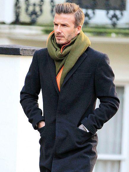 Look de star : Pop of color on David Beckham's winter look.