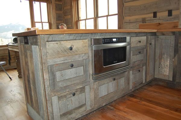 Barn wood cabinets, butcher countertops