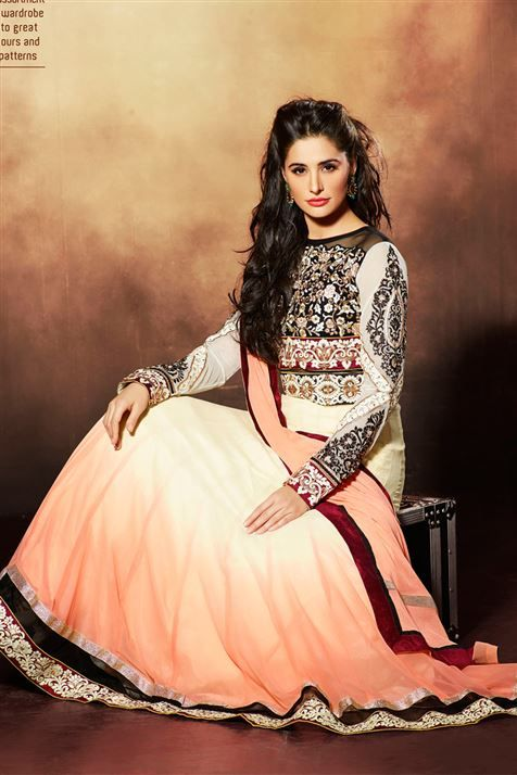 Stylish Nargis Fakhri  Light Golden Rod, Peach Georgette Embroidered Floor Touch Anarkali Suit