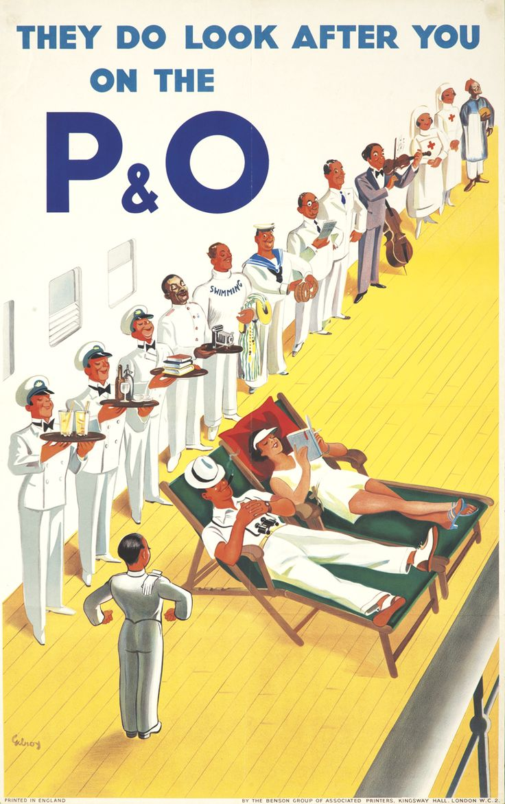 P&O by John Gilroy. ca. 1950 Vintage travel poster. Make your own memories at Sunriver. http://village-properties.com, 1-800-SUNRIVER.