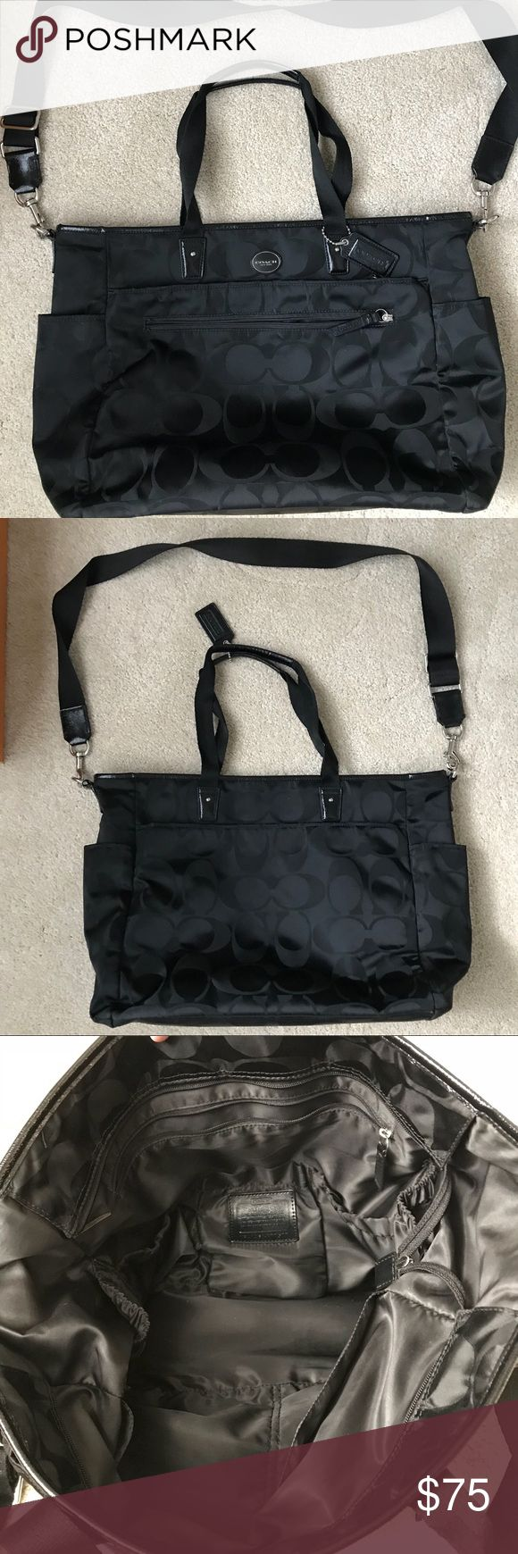 """Coach Diaper Bag Black coach diaper bag. No stains anywhere, looks brand new, nylon exterior for easy cleaning. Comes with shoulder strap and matching changing pad. Measures approx 19""""L x 13""""H. Coach Bags Baby Bags"""