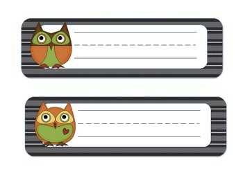 Don't buy name tags when you can print your own! These cute owl name tags may be laminated, or simply cut and stick to desks with clear contact pap...