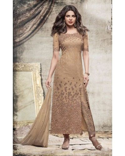 Dull Gold Floral Embroidered Salwar