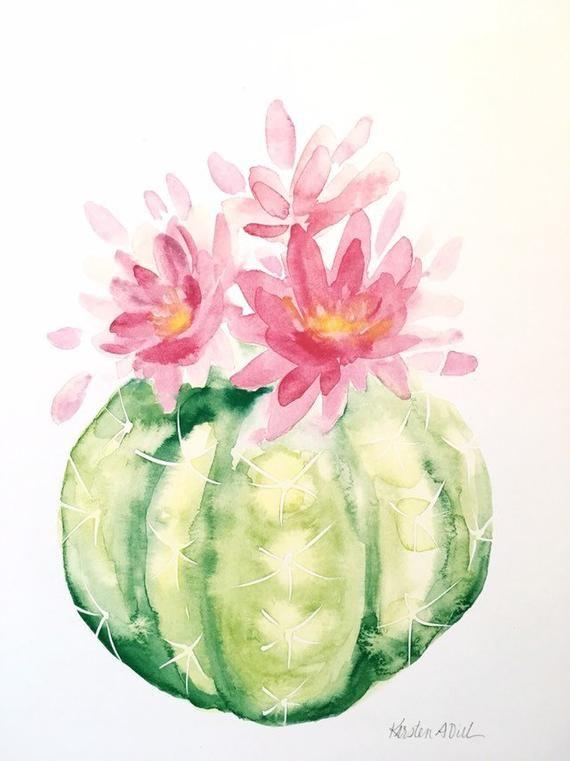 Cactus Aquarelle Print En 2020 Peinture De Cactus Dessin Cactus