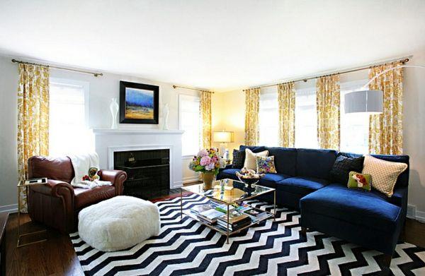 Chevron muster teppich schwarz-weiß wohnzimmer design