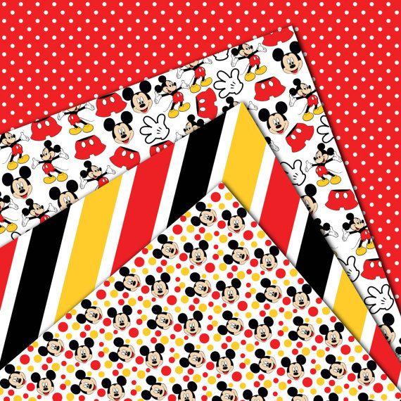 Mickey mouse digitale papier, scrapbook papier, behang, mickey achtergrond, polka dots, chevron, strepen  Ideaal voor uitnodigingen, kroonkurken, T-Shirts, mobiele telefoon Covers, Website Design, kaarten, sieraden, magneten, digitale Albums, Paper Crafts, Nail Wraps en zoveel meer.    ~ 24 digitale vellen - 12 x 12- en een hoge resolutie van 300dpi - jpg-formaat  ~ Persoonlijk en kleine commercieel gebruik  ~ Downloads zijn beschikbaar zodra uw betaling is bevestigd